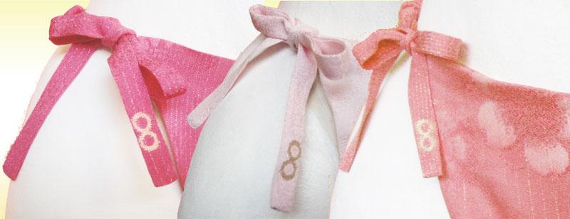 ふんどしパンツ ふんどし女子 天女の絹ショーツ咲楽姫、前紐に金の無限大
